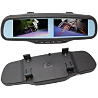 "800x480 HD Dual Screen Mirror Monitor, 4.3"" Rearview Backup TFT LCD Display 4-channel Video Input for Car Rear Front Side View Cameras"