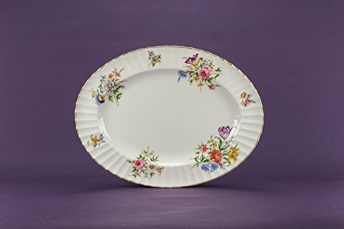 Bone China Vintage Floral Oval PLATTER Dinner Cake Retro Beautiful Dish Royal Worcester English Late 20th Century LS