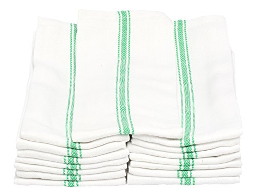 Melange 180 PACK Classic Kitchen Towels, 100% Natural Cotton, 14 x 25, Commercial Restaurant Grade, Herringbone Weave Dish Cloth, Absorbent and Lint-Free, Machine Washable, White with Green Stripe by Dish Basics
