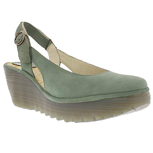 FLY London Womens Ylux Cupido Slingback Closed Toe Work Wedge Heel Shoes - Jade Green - US8/EU39