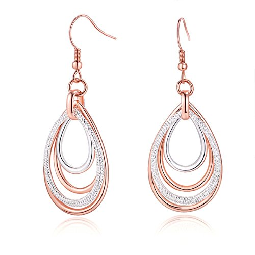 Carfeny Rose Gold and Silver Two Tone Dangle Earrings Multilayer Heart Shaped Teardrop Earrings for Women Hypoallergenic Earring