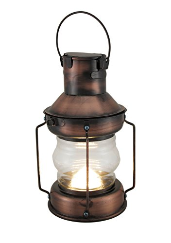 Zeckos Metal & Glass Decorative Candle Lanterns Rustic Battery Operated Antique Copper Finish Metal Lantern 5 X 11 X 5 Inches ()