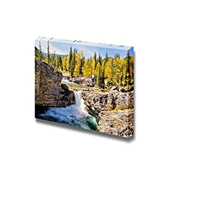 Beautiful Scenery Landscape Waterfall in The Kananaskis Region of The Canadian Rockies During Autumn Wood Framed - Canvas Art Wall Art - 16
