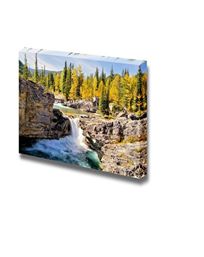 Beautiful Scenery Landscape Waterfall in the Kananaskis Region of the Canadian Rockies During Autumn Wall Decor Wood Framed