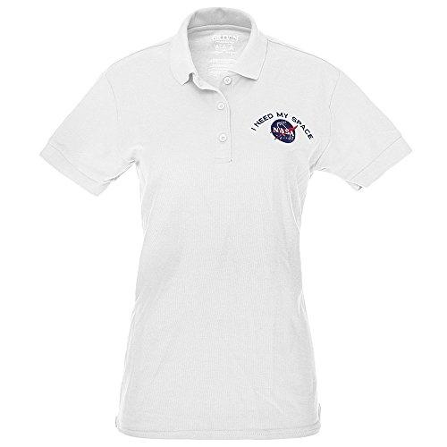 Gildan Embroidered Polo Shirt (Ladies I NEED MY SPACE NASA Meatball Embroidered Poly Jersey Polo Shirt - White - M)