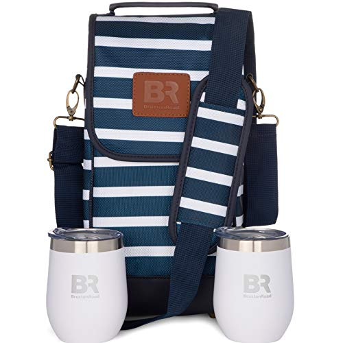 Insulated Wine Carrier with 2 Stainless Steel Glasses- Portable Wine Bag, Nautical Beverage Cooler, Carrier Case for Wine Accessories- Water Resistant Wine Tote Bag. Wine Gifts for Picnics and Boating