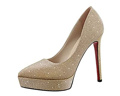 Ryse Women's Fashionable Twinkle Noble Elegant Temperament High Heels Pointy Shoes