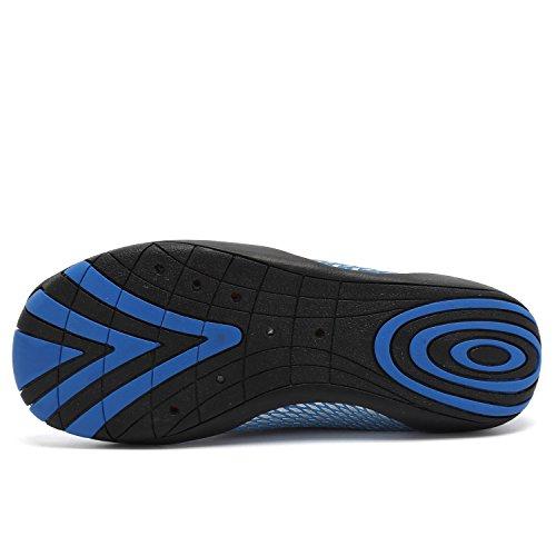 ANLUKE Wasser Schuhe Barfuß Yoga Socken Slip-On für Männer Frauen Kinder Blau Weiss