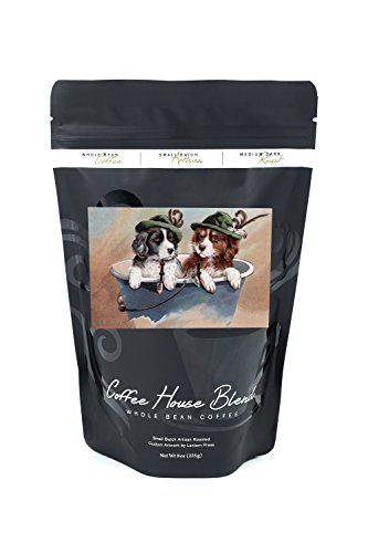 St. Patrick's Day Greeting - Puppies in Hats with Pipes (8oz Whole Bean Small Batch Artisan Coffee - Bold & Strong Medium Dark Roast w/Artwork)