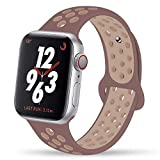 YC YANCH Greatou Compatible for Apple Watch Band 38mm,Silicone Sport Band Replacement Wrist Strap Compatible for iWatch Apple Watch Series 4/3/2/1,Nike+,Sport,Edition,M/L,Smokey Mauve Particle Beige