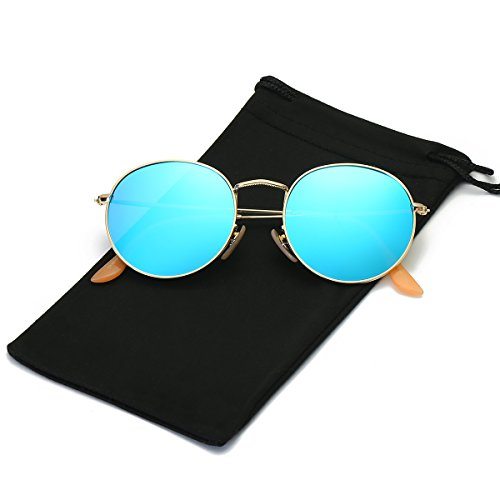 LKEYE Unisex Classic Vintage Round Mirror Lens Polarized Sunglasses LK1702 Gold Frame/Blue - For Sunglasses Round Face Best