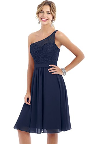 Beauty Bridal One Shoulder Lace Bridesmaid Dresses Short Wedding Party Evening Gowns S006 (4,Dark Navy)