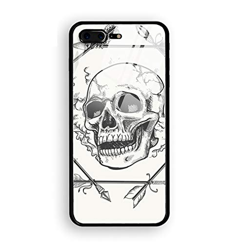 Smoke Skull iPhone 8 Plus Case, Clear Tempered Glass Back and TPU Shock Absorption Bumper Full Protective Case Compatible for iPhone 8 Plus