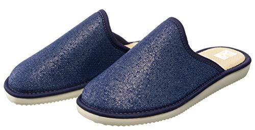 Gloss Blau Bosaco Pour Avec Semelle Pantoufles Inoubliable 2 Femmes Chausson 1waapxqHB0