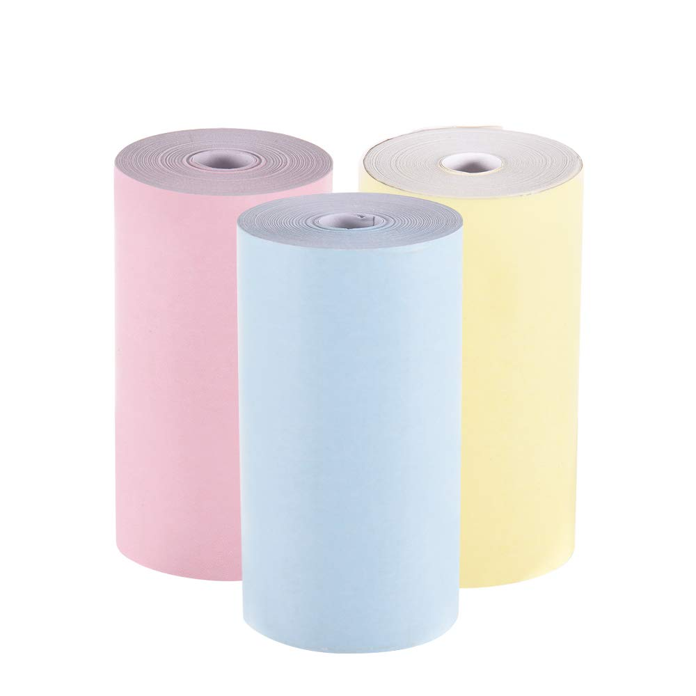 Ajorhkdls Color Thermal Paper Roll 57 * 30mm (2.17 * 1.18in) Bill Receipt Photo Paper Clear Printing for PeriPage A6 Pocket Thermal Printer for PAPERANG P1/P2 Mini Photo Printer, 3 Rolls