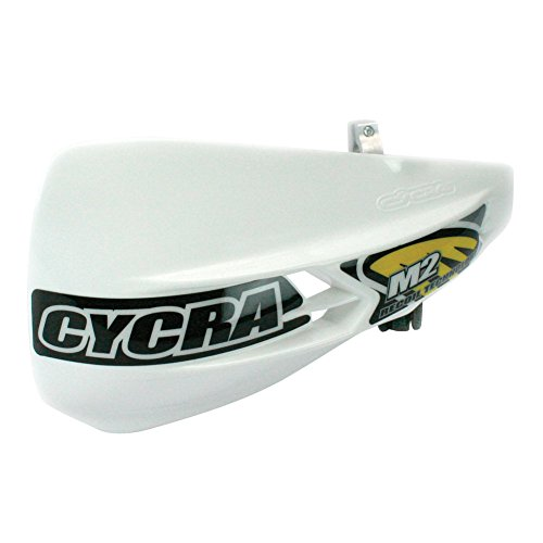 Cycra M2 Recoil Racer Pack Non-vented Handguards White and Free Motoxtremes Sticker (Vented Pack Racer Handguard)