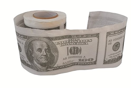 Forum Novelties 2 x $100 Dollar Bill Novelty Printed Toilet Paper 2 x
