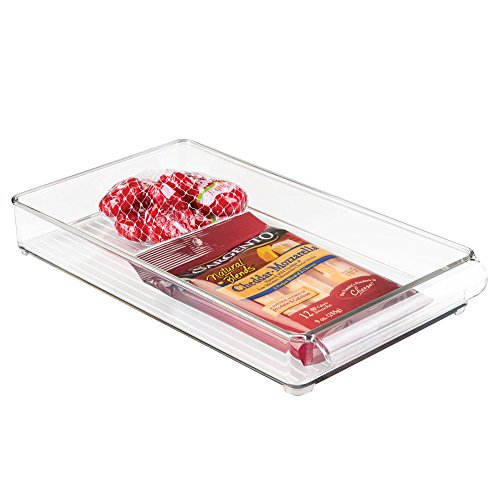 InterDesign Refrigerator and Freezer Storage Organizer Tray for Kitchen, 8'' x 2'' x 14.5'', Clear by InterDesign
