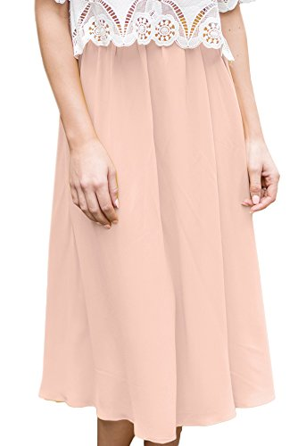 For G and PL Womens Elastic Waist Chiffon Solid Color Swing Flowy Flared Loose Casual Midi Skirt Pink XL by For G and PL (Image #2)