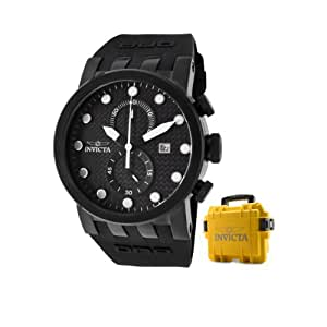 Invicta Men's 10427X DNA Racer Chronograph Black Carbon Fiber Dial Black Silicone Watch with Yellow Impact Case