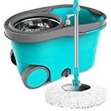 Zhanghaidong Rotary Mop Bucket Double Drive Mop Home Hand-Free Mop Bucket Automatic Hand Pressure 360° Spinning Floor Mop and Bucket Set with 2 Microfibre Heads