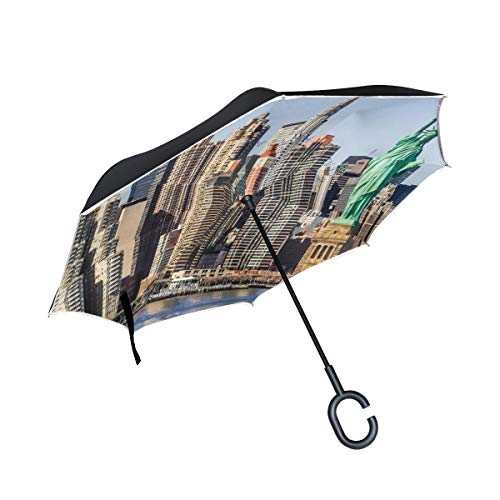 Reverse Umbrella Statue Of Liberty Windproof Double Layer for Car