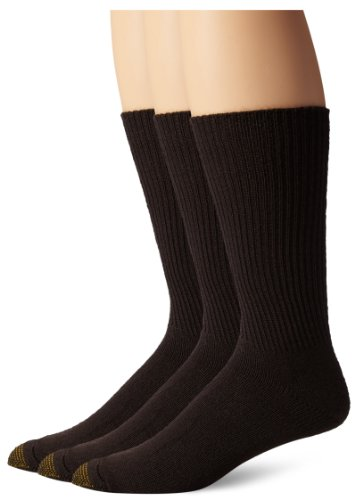 Gold Toe Men's Fluffies Extended Sock, 3 Pack, Brown, One (Brown Toe Socks)