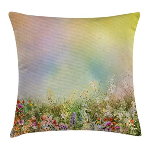 (Ambesonne Watercolor Flower Home Decor Throw Pillow Cushion Cover, Cosmos Daisy Cornflower Wildflower Dandelion in Floral Meadow Scene, Decorative Square Accent Pillow Case, 18 X 18 Inches, Multi)