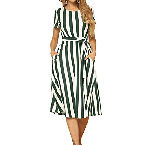⚡HebeTop⚡ Women's Summer Striped Short Sleeve V Neck Button Down Belted Swing Midi Dress with Pockets Green
