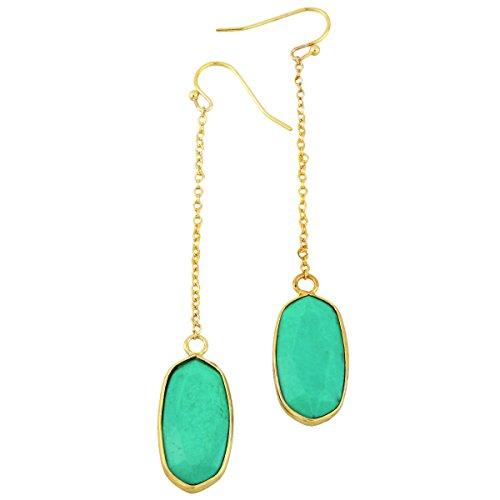 SUNYIK Oval Faceted Stone Long Drop Dangle Earrings for Women,Green Howlite Turquoise ()