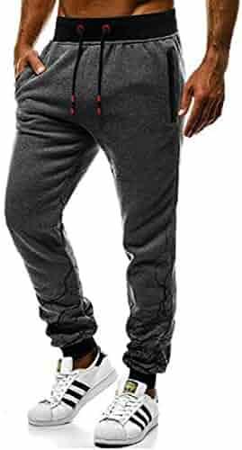 pipigo Mens Jogger Sport Running Zipper Elastic Waist Casual Pants