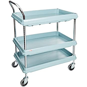 """Metro Deep Ledge Series Antimicrobial Polymer Utility Cart with 4 Swivel Casters, 3 Shelves, 400 lb. Total Capacity, 41"""" Height x 21-1/2"""" Width x 32-3/4"""" Length, Slate Blue"""