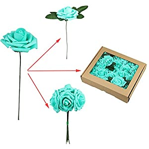 Fivejorya 25pcs Teal Blue Artificial Roses Flowers With Stems Real Looking Fake Roses for DIY Wedding Bouquets Centerpieces Arrangements Birthday Home Party Decor Favor 37