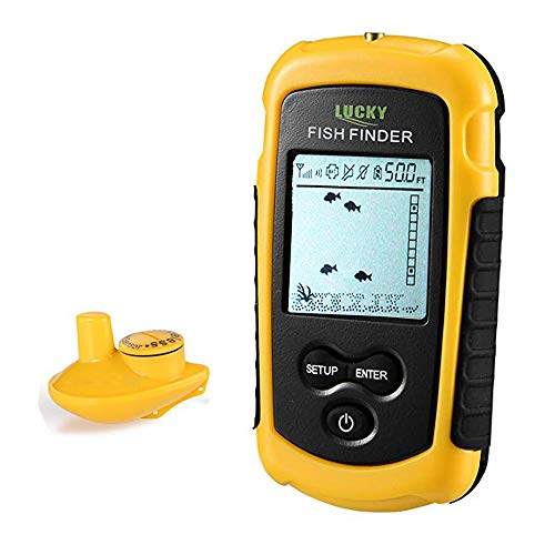 Lucky Wireless Fish Finder Portable Fish Finder for Boat Fishing Anti-UV LCD Display Sonar Sensor Transducer Depth Finders for Kayak Ice Fishing Sea Fishing Canoes Fishing