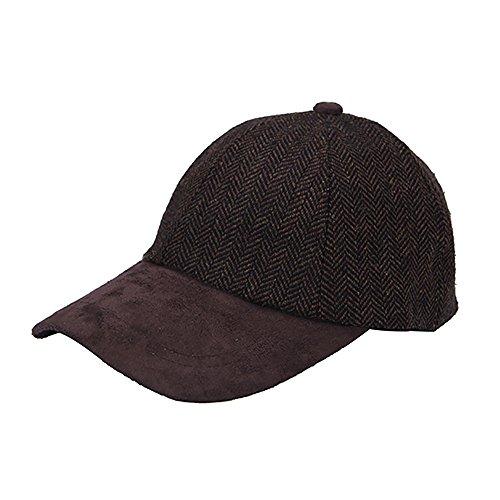 Bass Mens Herringbone - Heritage Traditions Brown Herringbone Tweed Suede Baseball Cap Hat