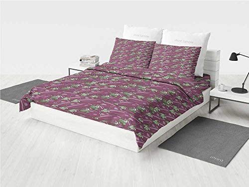 g Set Retro Inspired Stacks of Delicious Eggplants Product of Nature Ingredient Cusine Food Decorative Printing Four Pieces of Bedding Set Purple ()