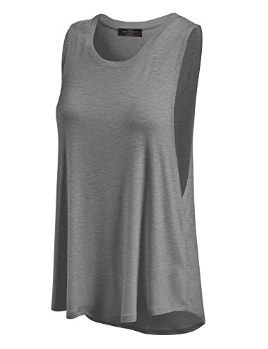 Made By Johnny WT902 Womens Basic Loose Fit Tank Top L Heather_Dark_Grey