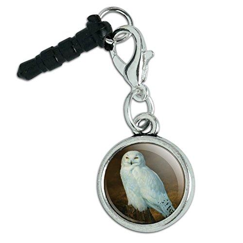 Snowy Arctic Owl on Tree Stump Mobile Cell Phone Headphone Jack Anti-Dust Charm fits iPhone iPod Galaxy