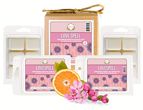Aira Soy Wax Melt - Organic, Vegan, Kosher, Scented Soy Wax Cubes w/Essential Oil Blends - No Chemical 100% Soy Wax Melts for Electric/Tealight Melters - Hand-Poured Soy Tarts - Love Spell - 4 Pack