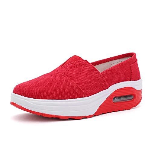 Eu Tamaño Zapatos De color Suela Lona Blanco Con Mujer Para Qiusa Rojo Basculante Deportivos 36 7P4xdw