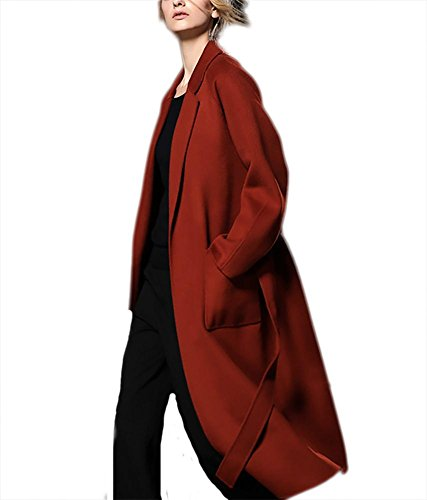 Collar cintura cashmere in con inverno donna Ispessimento autunno Cappotto red in Giacca lana bifacciale Suit Lace Windbreaker rust Outwear up qfpqPzx