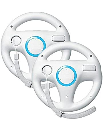 Beastron Mario Kart Racing Wheel for Nintendo Wii, 2 Sets White Color Bundle