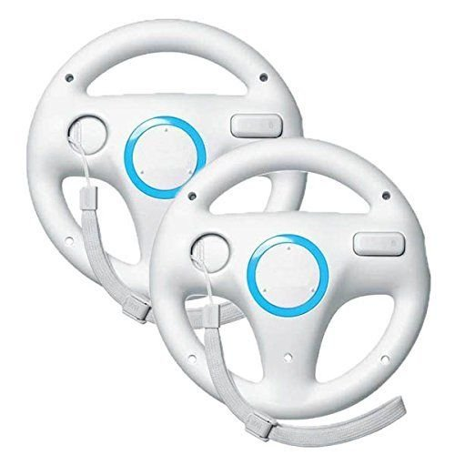 Wii Racing Game Steering Wheel (Zettaguard Mario Kart Racing Wheel for Nintendo Wii, 2 Sets White Color Bundle)