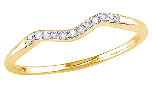 Jewel Zone US White Natural Diamond Accent Curved Wedding Band Ring in 14k Yellow Gold Over Sterling Silver (0.06 Ct)