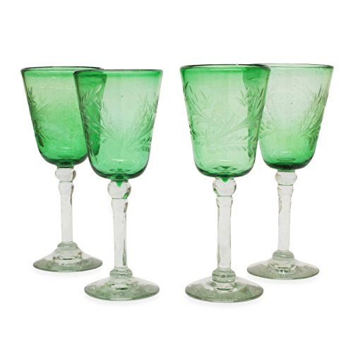 NOVICA Artisan Crafted Recycled Glass Etched Green Wine Glasses, 9 oz.