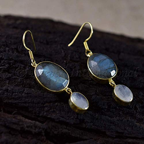 925 Sterling Silver Earrings Natural Blue Fire Labradorite and Rainbow Moonstone Earrings Yellow Gold Vermeil Jewelry Handmade Women's Earrings Sister Gift Birthday Earring