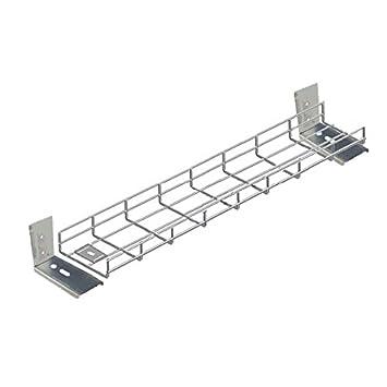 600mm Long Premier Under Desk Basket Tray W/ Brackets & Fixings   Silver by Amazon