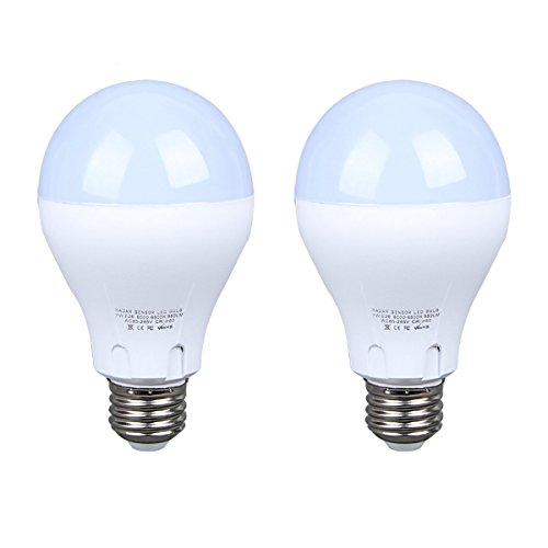 Motion Sensor Light Bulb Dusk to Dawn Light Bulb LED E26 Base Indoor Outdoor Motion Sensor Bulb 7W 6500K White Radar Smart Bulb Auto On/Off(2 Pack)