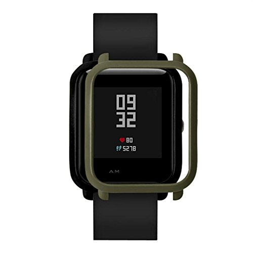 Wondere Slim Colorful Frame PC Case Cover Protect Shell For Xiaomi Huami Amazfit Bip Younth Watch. (Army Green)