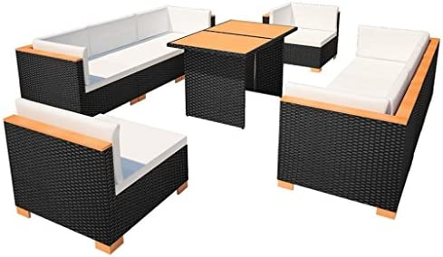 SSITG Jardín sofá DE 32 Piezas Ratán WPC Negro Asiento Grupo Lounge Jardín Set: Amazon.es: Jardín